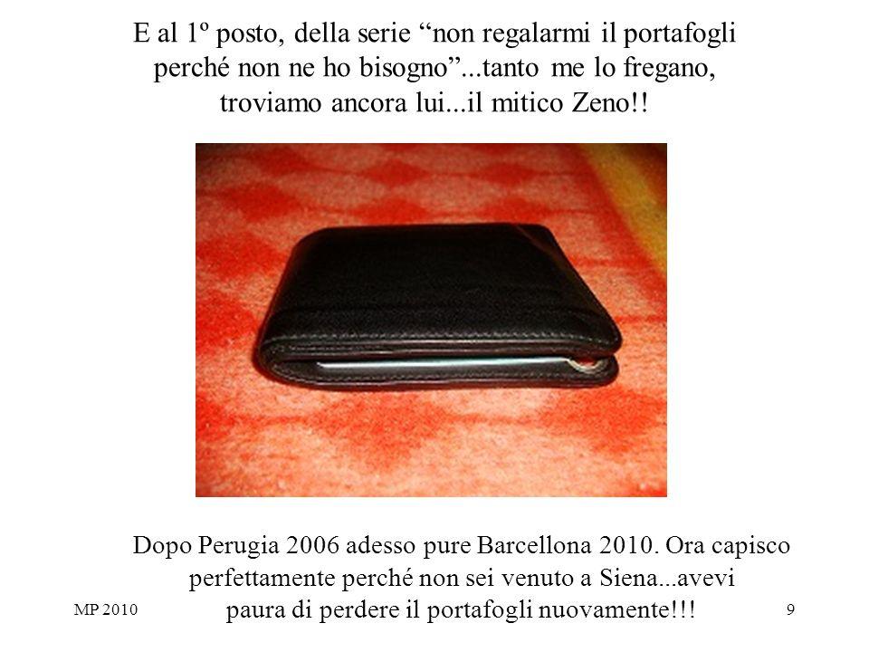 MP 20109 E al 1º posto, della serie non regalarmi il portafogli perché non ne ho bisogno...tanto me lo fregano, troviamo ancora lui...il mitico Zeno!.
