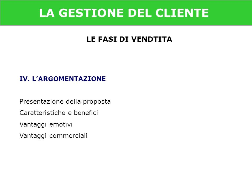LE FASI DI VENDTITA IV.