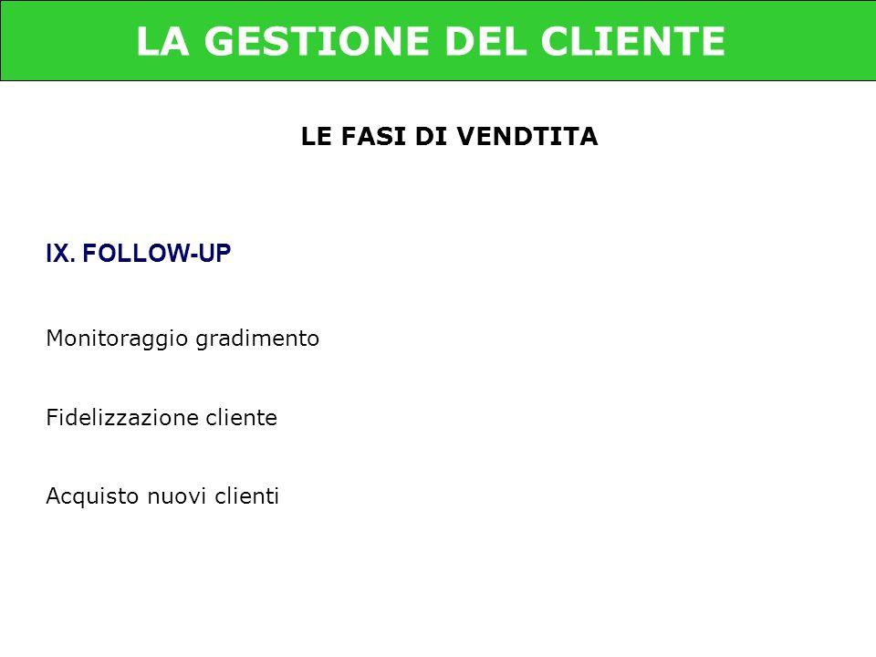 LE FASI DI VENDTITA IX. FOLLOW-UP Monitoraggio gradimento Fidelizzazione cliente Acquisto nuovi clienti LA GESTIONE DEL CLIENTE