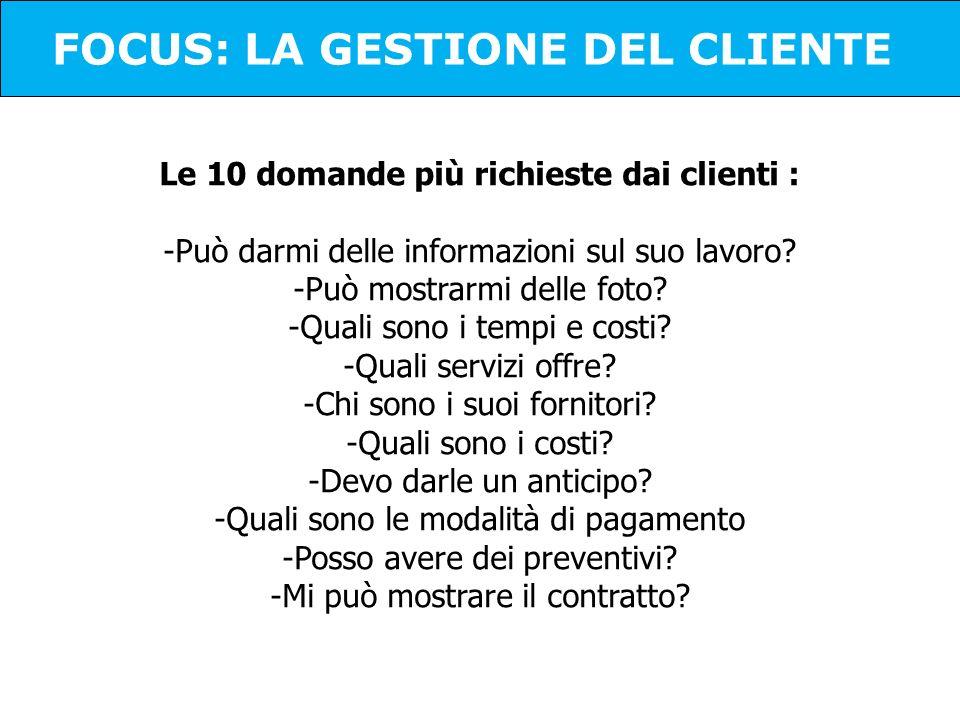 Le 10 domande più richieste dai clienti : -Può darmi delle informazioni sul suo lavoro? -Può mostrarmi delle foto? -Quali sono i tempi e costi? -Quali