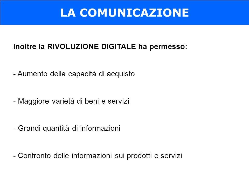 LA COMUNICAZIONE Inoltre la RIVOLUZIONE DIGITALE ha permesso: - Aumento della capacità di acquisto - Maggiore varietà di beni e servizi - Grandi quant
