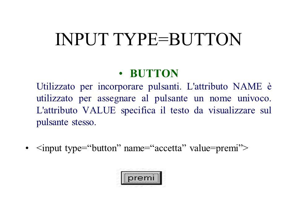 INPUT TYPE=BUTTON BUTTON Utilizzato per incorporare pulsanti.