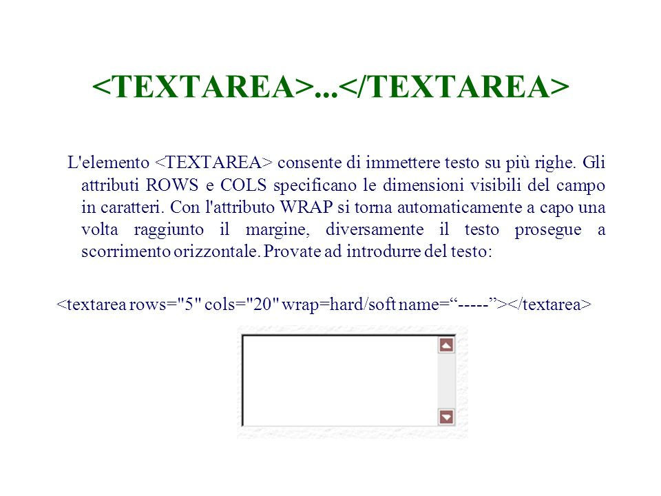 ... L elemento consente di immettere testo su più righe.