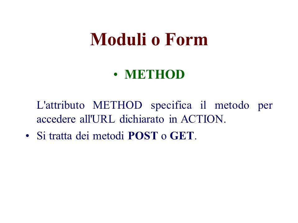 Moduli o Form ENCTYPE L attributo ENCTYPE specifica il tipo di codifica dei dati del modulo.
