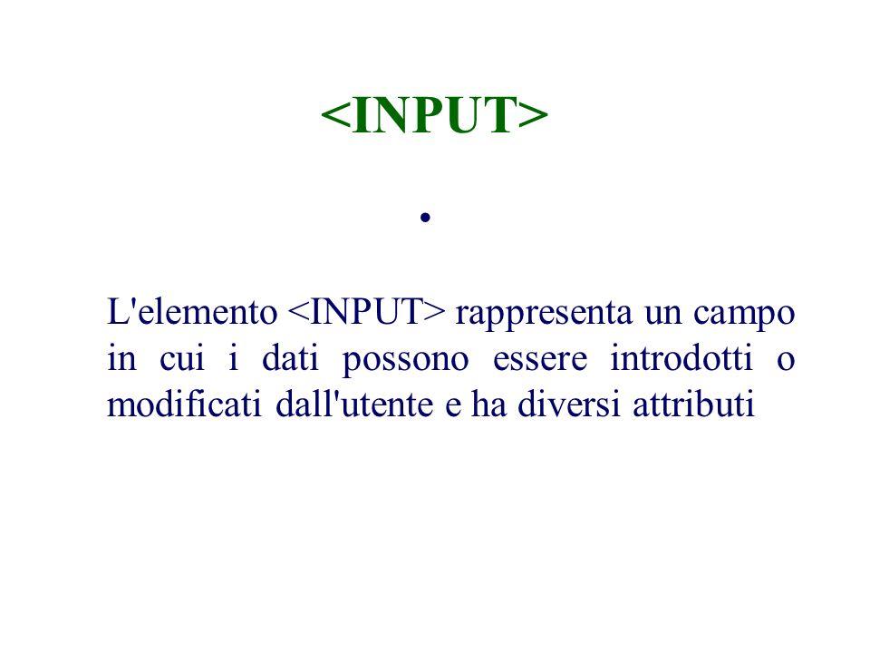 L elemento rappresenta un campo in cui i dati possono essere introdotti o modificati dall utente e ha diversi attributi