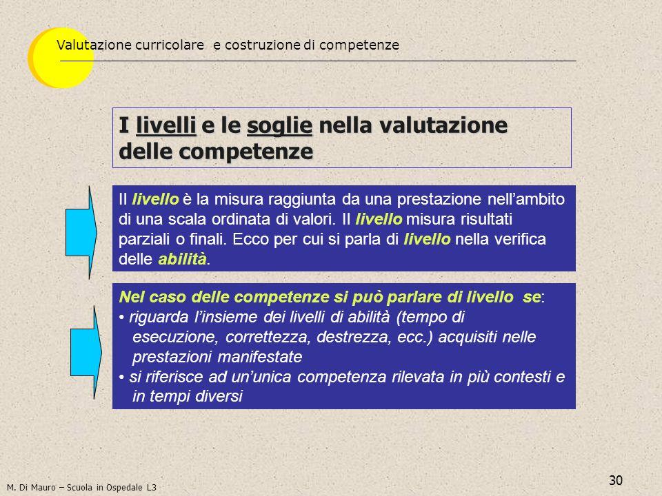 30 I livelli e le soglie nella valutazione delle competenze Il livello è la misura raggiunta da una prestazione nellambito di una scala ordinata di va