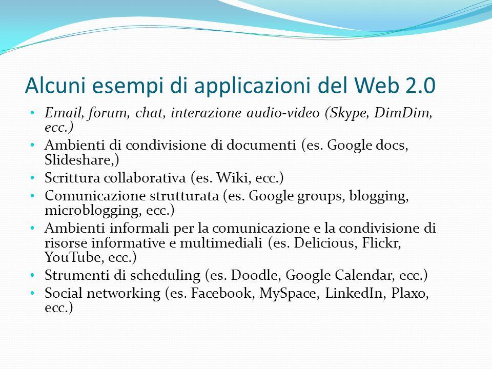 Alcuni esempi di applicazioni del Web 2.0 Email, forum, chat, interazione audio-video (Skype, DimDim, ecc.) Ambienti di condivisione di documenti (es.