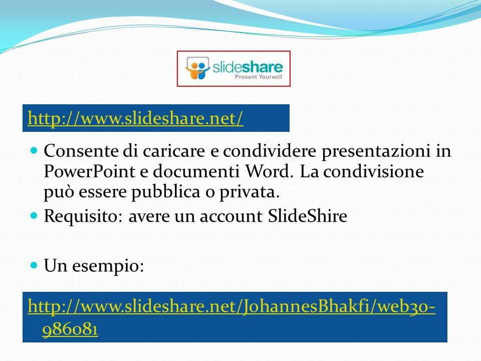 Consente di caricare e condividere presentazioni in PowerPoint e documenti Word. La condivisione può essere pubblica o privata. Requisito: avere un ac