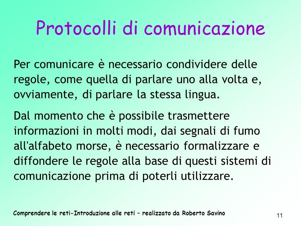 Comprendere le reti-Introduzione alle reti – realizzato da Roberto Savino 11 Per comunicare è necessario condividere delle regole, come quella di parl