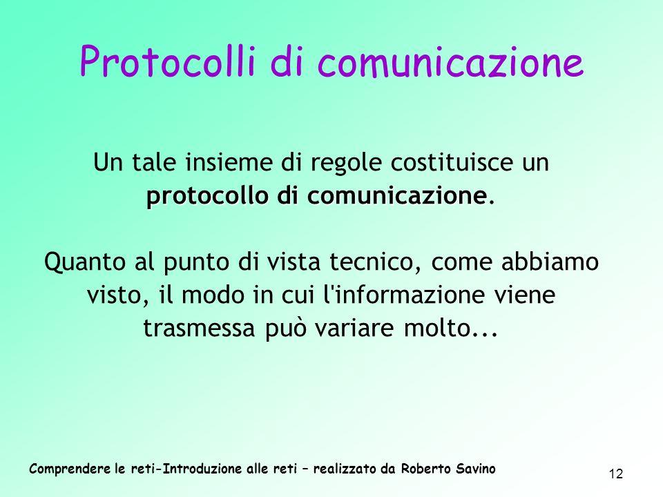 Comprendere le reti-Introduzione alle reti – realizzato da Roberto Savino 12 protocollo di comunicazione Un tale insieme di regole costituisce un prot
