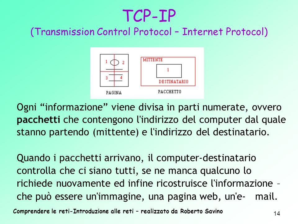 Comprendere le reti-Introduzione alle reti – realizzato da Roberto Savino 14 Ogni informazione viene divisa in parti numerate, ovvero pacchetti che co