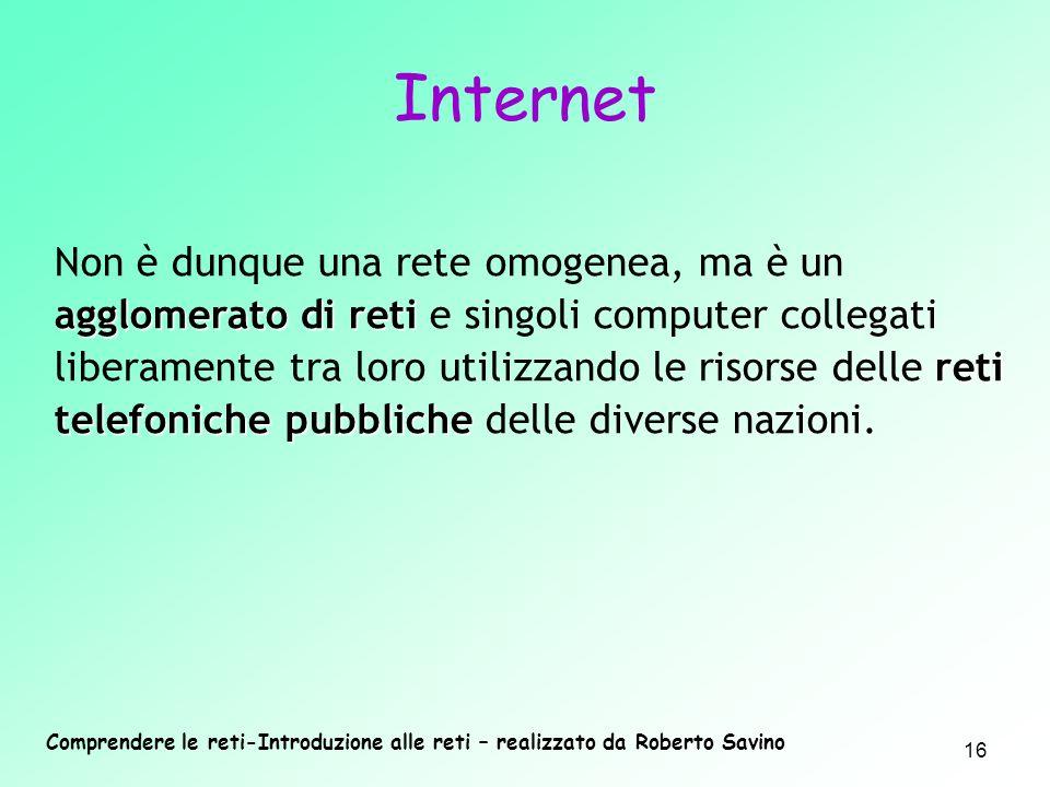 Comprendere le reti-Introduzione alle reti – realizzato da Roberto Savino 16 agglomerato di reti reti telefoniche pubbliche Non è dunque una rete omog