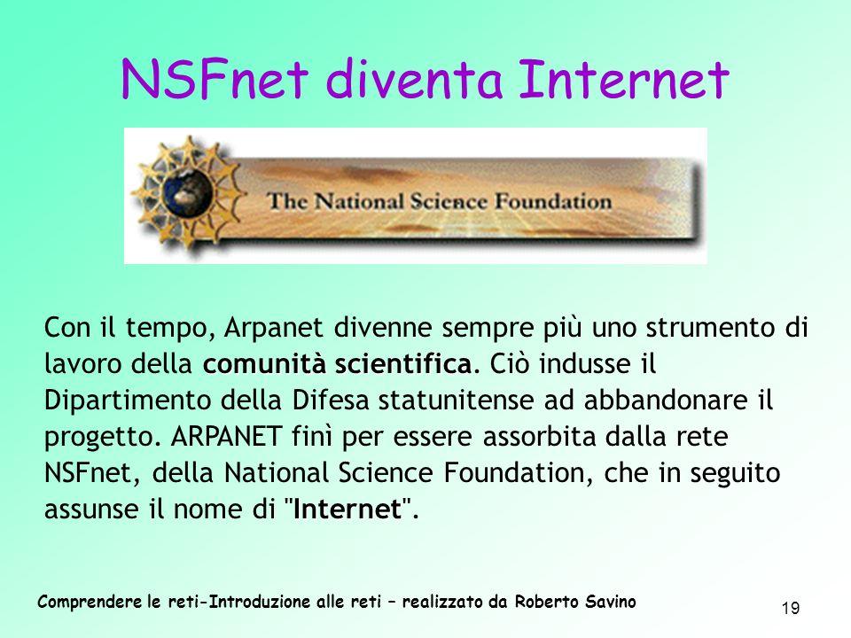 Comprendere le reti-Introduzione alle reti – realizzato da Roberto Savino 19 comunità scientifica Internet Con il tempo, Arpanet divenne sempre più un