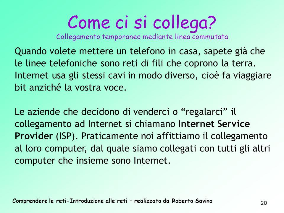 Comprendere le reti-Introduzione alle reti – realizzato da Roberto Savino 20 Quando volete mettere un telefono in casa, sapete già che le linee telefo