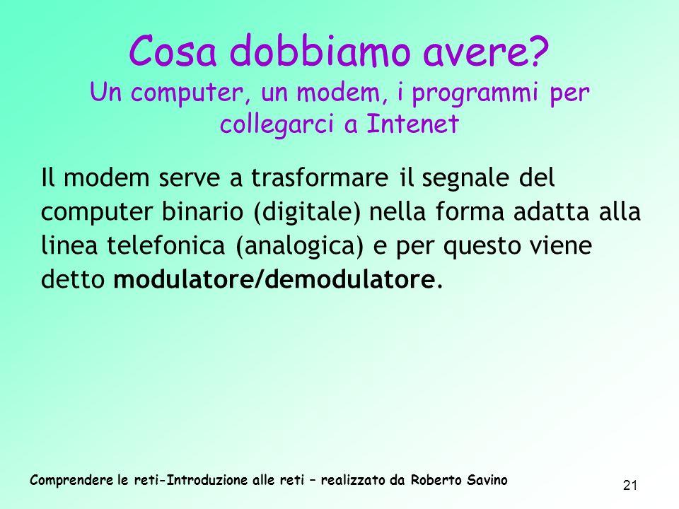 Comprendere le reti-Introduzione alle reti – realizzato da Roberto Savino 21 Il modem serve a trasformare il segnale del computer binario (digitale) n