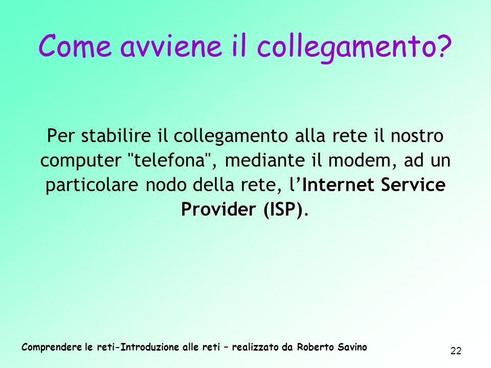 Comprendere le reti-Introduzione alle reti – realizzato da Roberto Savino 22 Come avviene il collegamento? Internet Service Provider (ISP) Per stabili