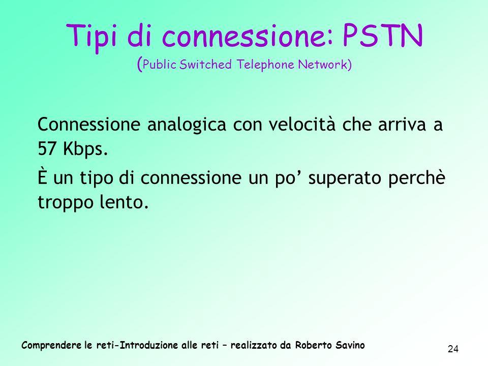 Comprendere le reti-Introduzione alle reti – realizzato da Roberto Savino 24 Tipi di connessione: PSTN ( Public Switched Telephone Network) Connession