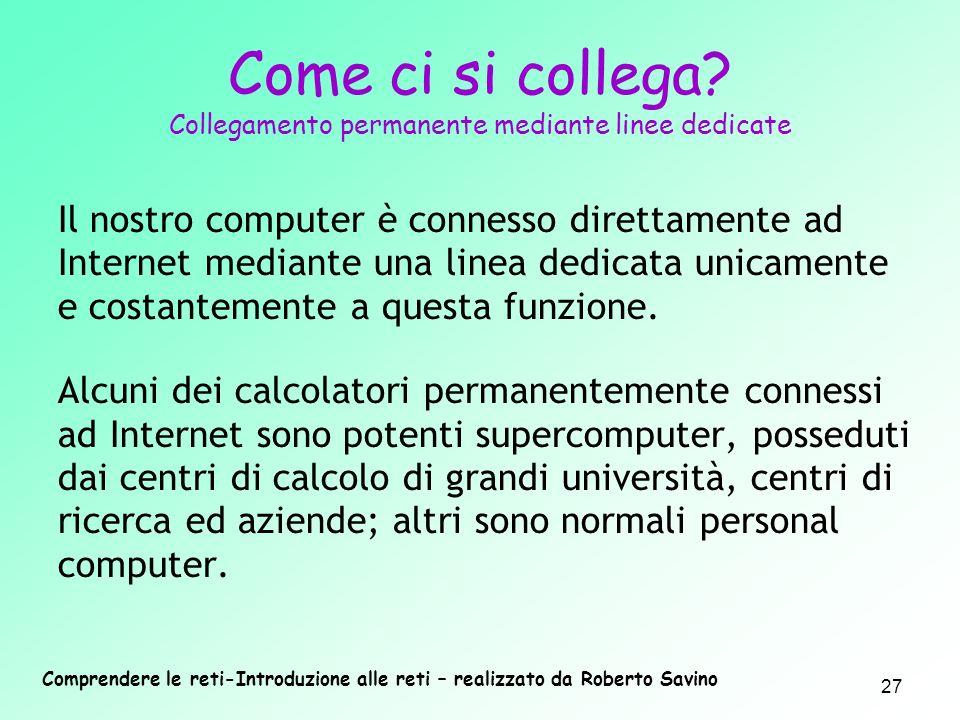 Comprendere le reti-Introduzione alle reti – realizzato da Roberto Savino 27 Come ci si collega? Collegamento permanente mediante linee dedicate Il no