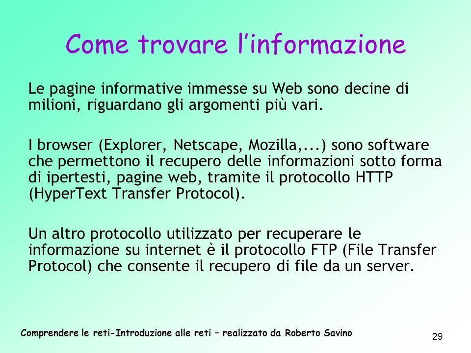 Comprendere le reti-Introduzione alle reti – realizzato da Roberto Savino 29 Le pagine informative immesse su Web sono decine di milioni, riguardano g