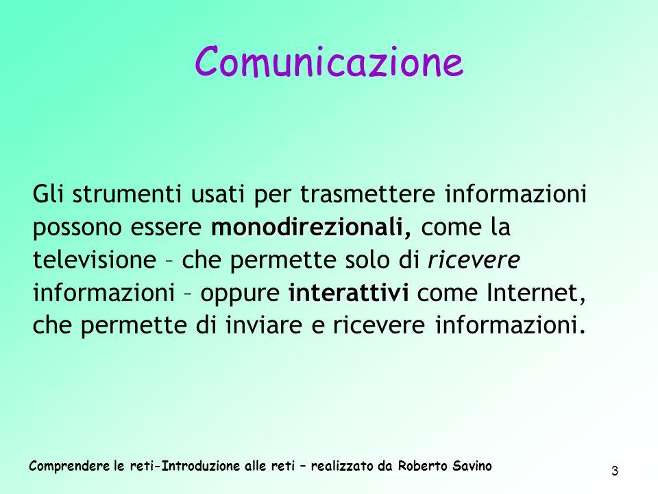 Comprendere le reti-Introduzione alle reti – realizzato da Roberto Savino 3 onodirezionali, interattivi Gli strumenti usati per trasmettere informazio