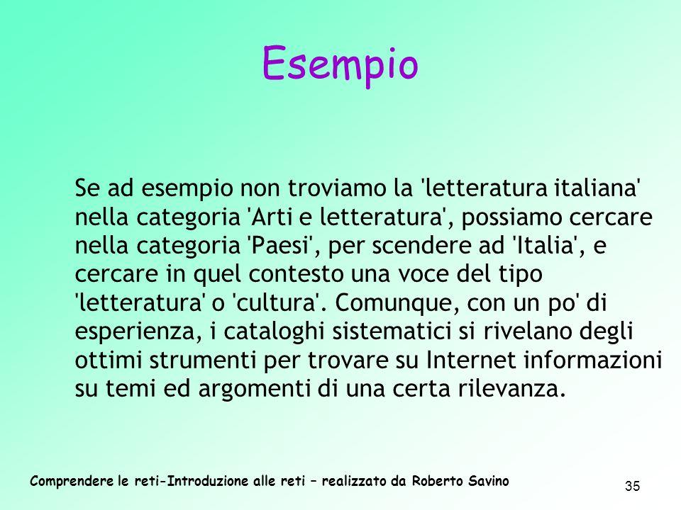Comprendere le reti-Introduzione alle reti – realizzato da Roberto Savino 35 Se ad esempio non troviamo la 'letteratura italiana' nella categoria 'Art