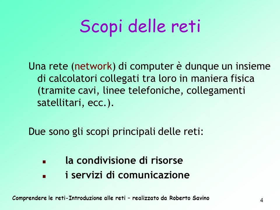 Comprendere le reti-Introduzione alle reti – realizzato da Roberto Savino 4 Una rete (network) di computer è dunque un insieme di calcolatori collegat