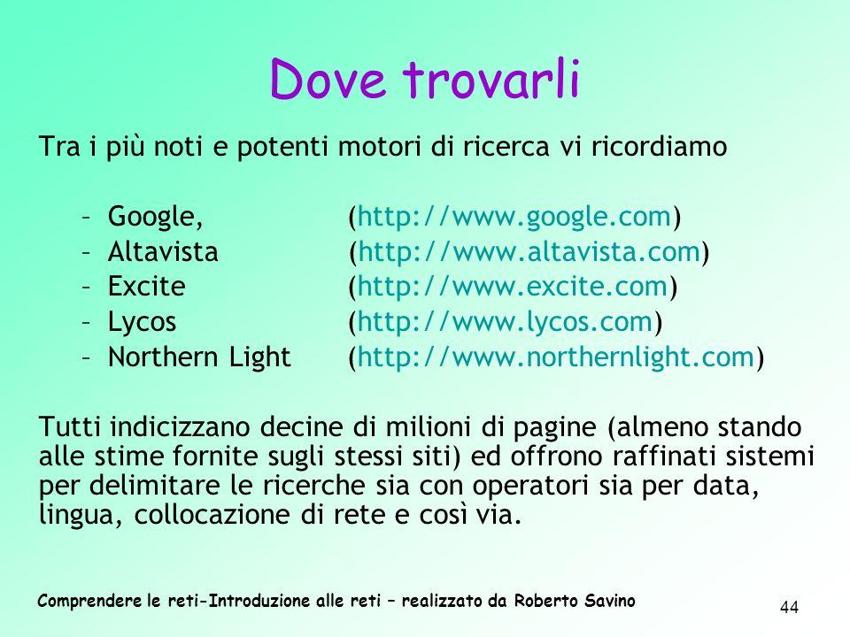 Comprendere le reti-Introduzione alle reti – realizzato da Roberto Savino 44 Tra i più noti e potenti motori di ricerca vi ricordiamo –Google,(http://