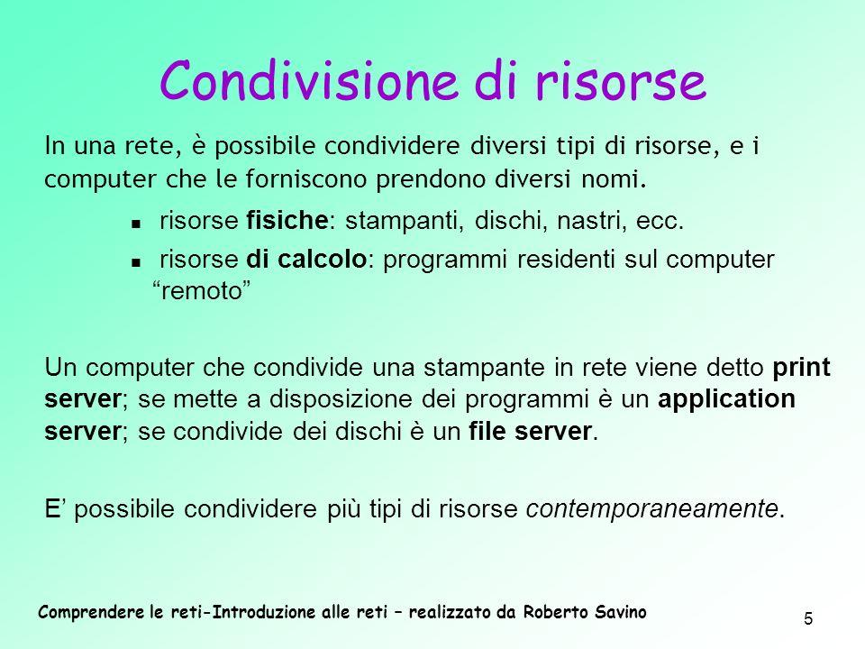 Comprendere le reti-Introduzione alle reti – realizzato da Roberto Savino 5 In una rete, è possibile condividere diversi tipi di risorse, e i computer
