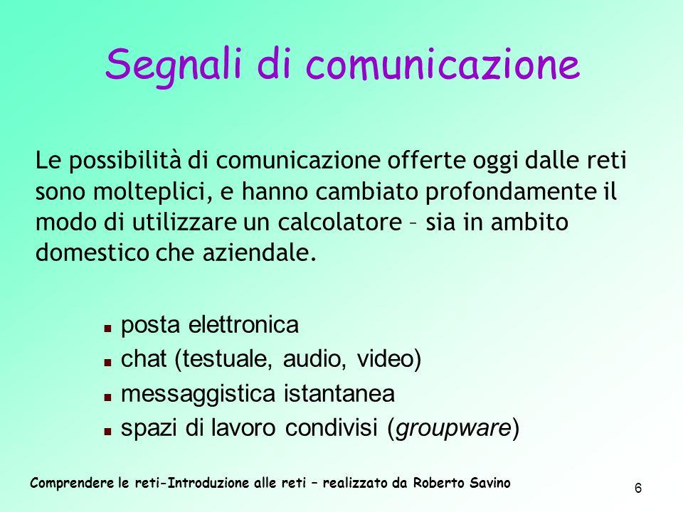 Comprendere le reti-Introduzione alle reti – realizzato da Roberto Savino 6 Le possibilità di comunicazione offerte oggi dalle reti sono molteplici, e