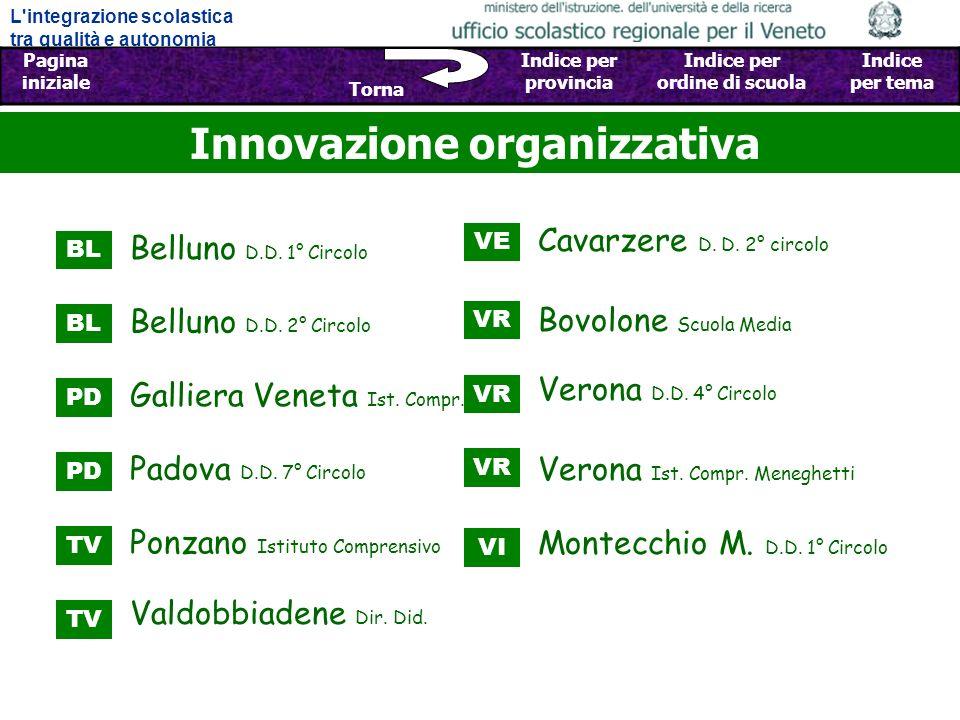 L integrazione scolastica tra qualità e autonomia Pagina iniziale Sfoglia Indietro - Avanti Indice per provincia Indice per ordine di scuola Indice per tema Torna Innovazione organizzativa Belluno D.D.