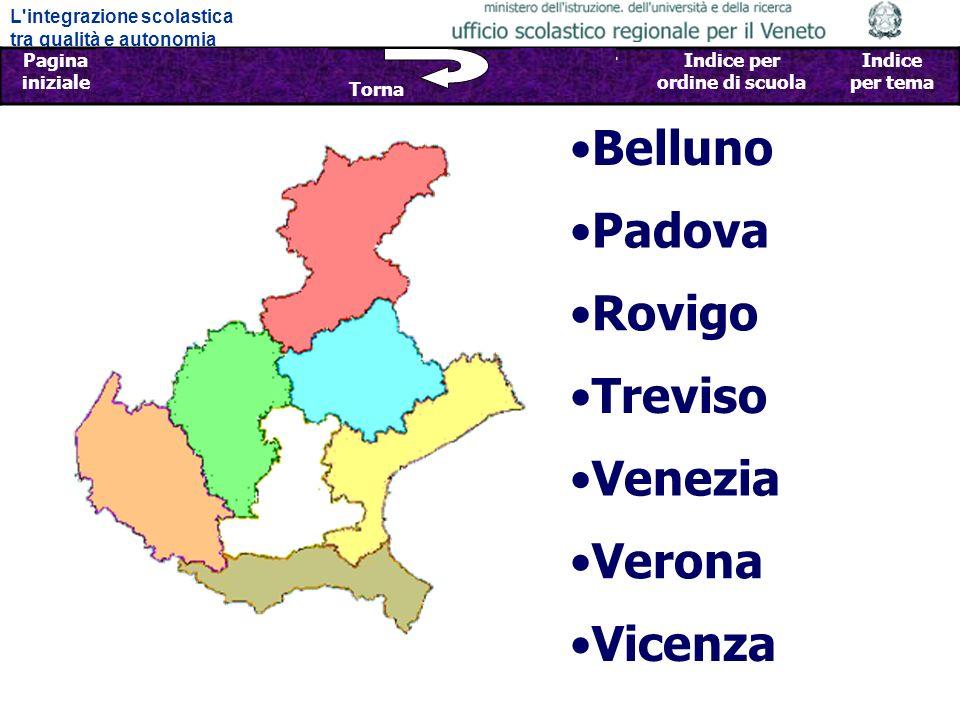 L integrazione scolastica tra qualità e autonomia Pagina iniziale Sfoglia Indietro - Avanti Indice per provincia Indice per ordine di scuola Indice per tema Torna Belluno Padova Rovigo Venezia Vicenza Treviso Verona