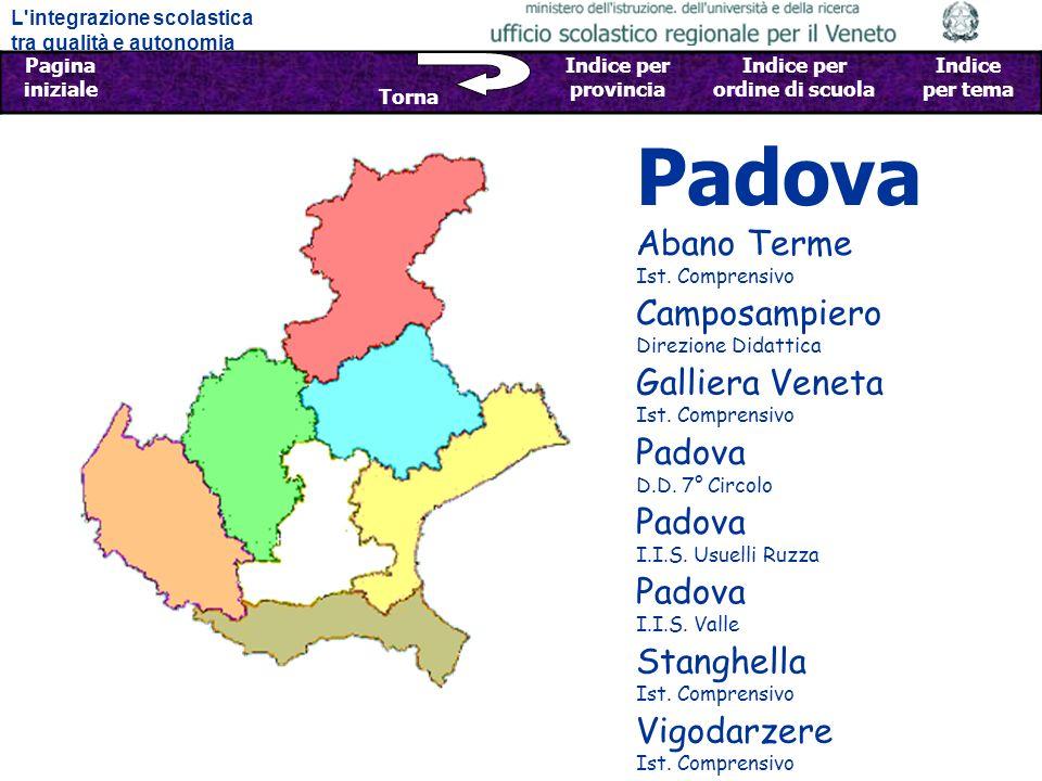L integrazione scolastica tra qualità e autonomia Pagina iniziale Sfoglia Indietro - Avanti Indice per provincia Indice per ordine di scuola Indice per tema Torna Padova Galliera Veneta Ist.