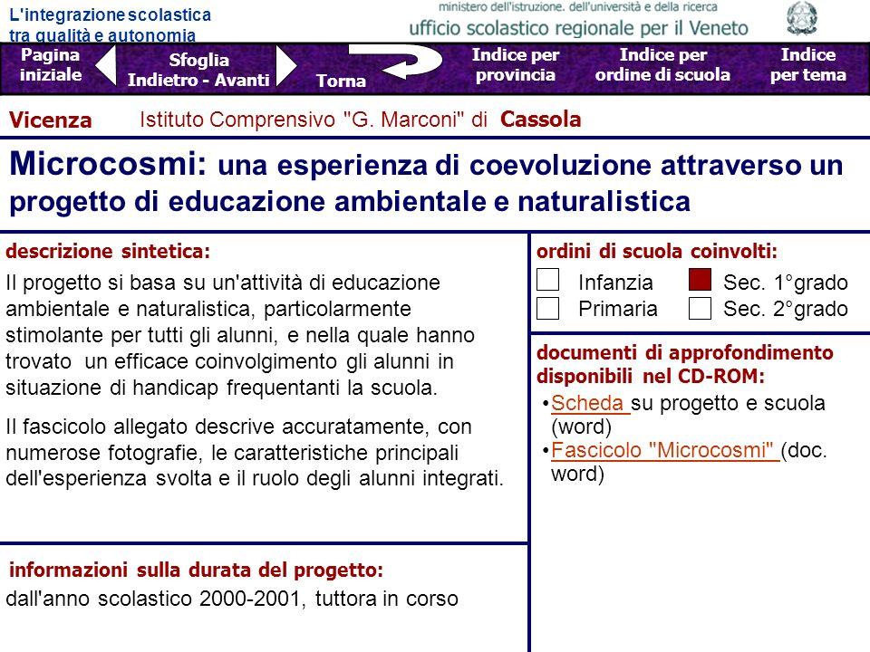 L'integrazione scolastica tra qualità e autonomia Pagina iniziale Sfoglia Indietro - Avanti Indice per provincia Indice per ordine di scuola Indice pe