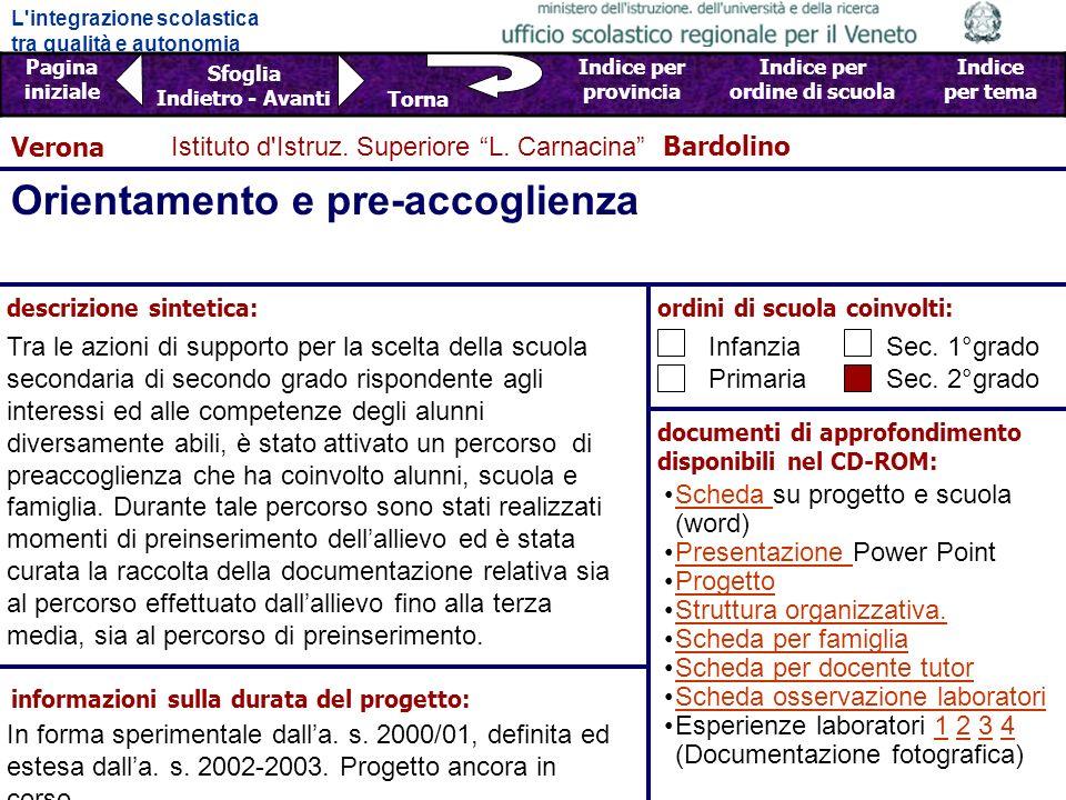 L integrazione scolastica tra qualità e autonomia Pagina iniziale Sfoglia Indietro - Avanti Indice per provincia Indice per ordine di scuola Indice per tema Torna Istituto d Istruz.
