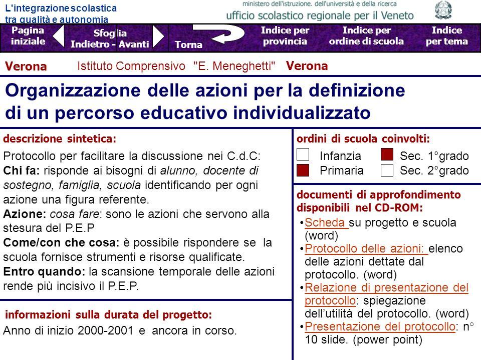 L integrazione scolastica tra qualità e autonomia Pagina iniziale Sfoglia Indietro - Avanti Indice per provincia Indice per ordine di scuola Indice per tema Torna Istituto Comprensivo E.