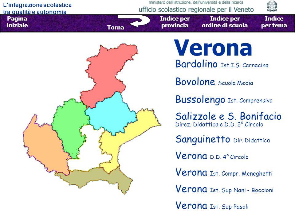L integrazione scolastica tra qualità e autonomia Pagina iniziale Sfoglia Indietro - Avanti Indice per provincia Indice per ordine di scuola Indice per tema Torna Verona Bovolone Scuola Media Bardolino Ist.I.S.
