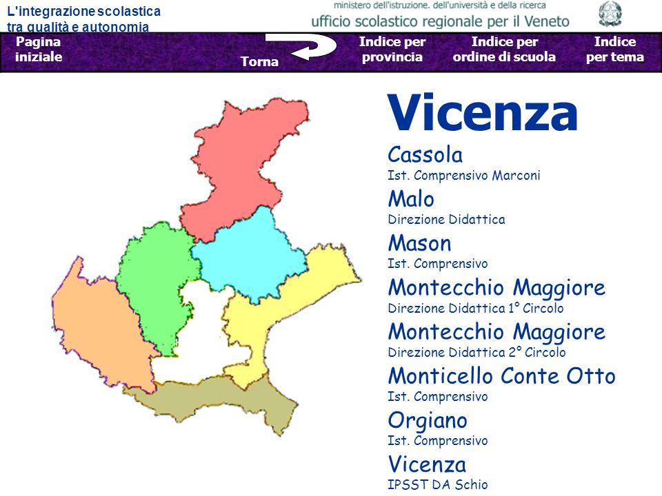 L integrazione scolastica tra qualità e autonomia Pagina iniziale Sfoglia Indietro - Avanti Indice per provincia Indice per ordine di scuola Indice per tema Torna LINTEGRAZIONE SCOLASTICA TRA QUALITÀ E AUTONOMIA: ESPERIENZE NELLE SCUOLE DEL VENETO LUfficio Scolastico Regionale del Veneto, con la collaborazione dei Centri Territoriali per lIntegrazione e delle Scuole, ha raccolto esperienze di integrazione innovative e di qualità in cui, avvalendosi di una progettazione integrata, sono state ottimizzate le risorse della scuola e del territorio.