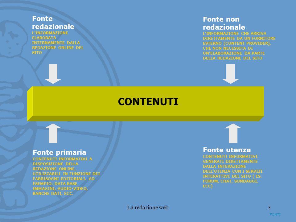 La redazione web3 FONTI CONTENUTI Fonte redazionale LINFORMAZIONE ELABORATA INTERNAMENTE DALLA REDAZIONE ONLINE DEL SITO Fonte non redazionale LINFORM