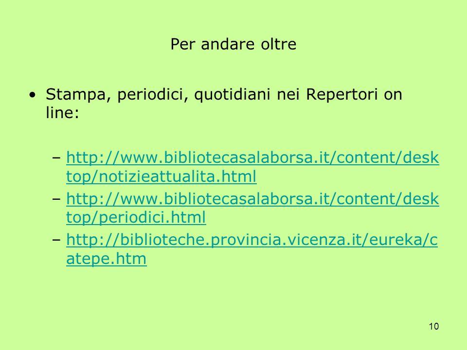 10 Per andare oltre Stampa, periodici, quotidiani nei Repertori on line: –http://www.bibliotecasalaborsa.it/content/desk top/notizieattualita.htmlhttp://www.bibliotecasalaborsa.it/content/desk top/notizieattualita.html –http://www.bibliotecasalaborsa.it/content/desk top/periodici.htmlhttp://www.bibliotecasalaborsa.it/content/desk top/periodici.html –http://biblioteche.provincia.vicenza.it/eureka/c atepe.htmhttp://biblioteche.provincia.vicenza.it/eureka/c atepe.htm