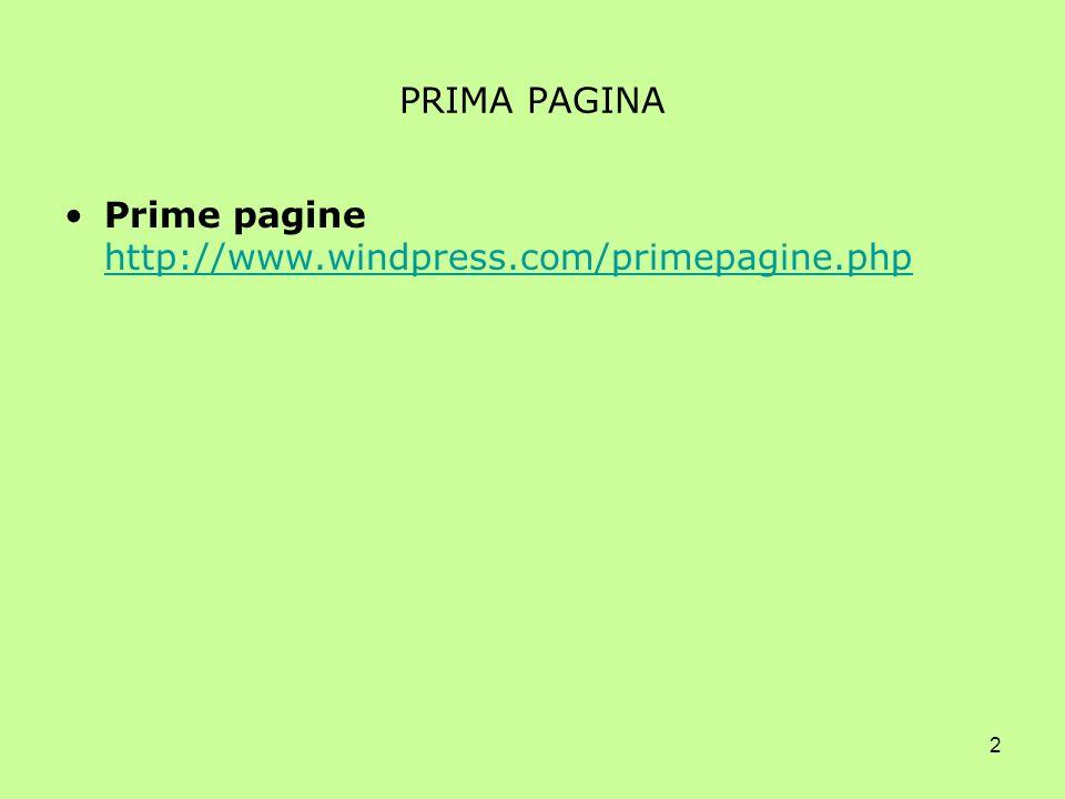2 PRIMA PAGINA Prime pagine http://www.windpress.com/primepagine.php http://www.windpress.com/primepagine.php