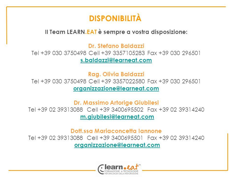 DISPONIBILITÀ Il Team LEARN.EAT è sempre a vostra disposizione: Dr. Stefano Baldazzi Tel +39 030 3750498 Cell +39 3357105283 Fax +39 030 296501 s.bald