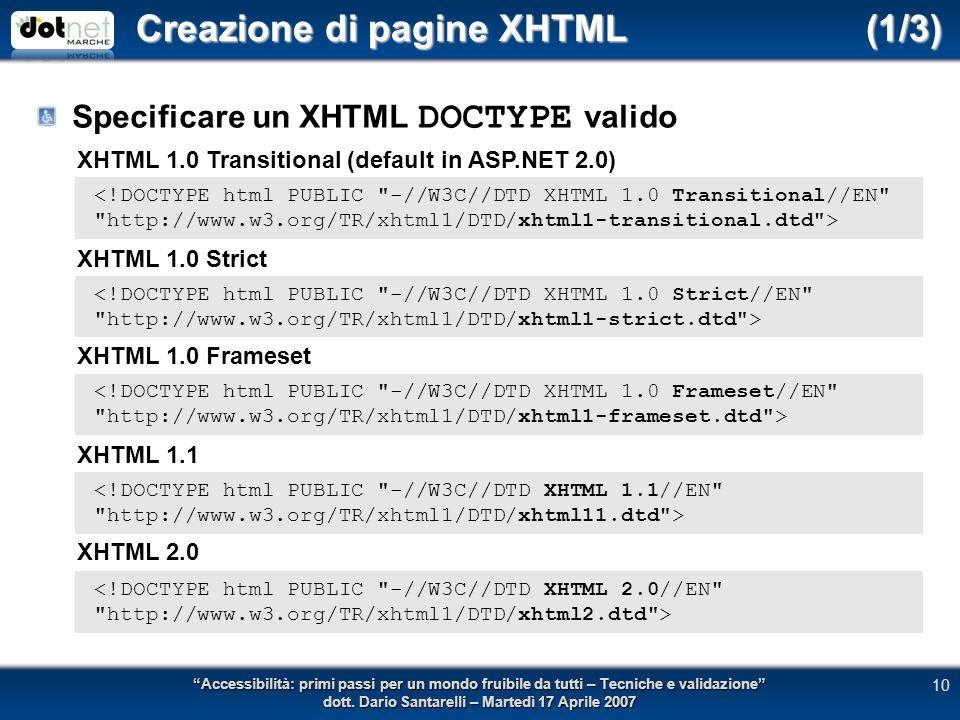 Creazione di pagine XHTML (1/3) Specificare un XHTML DOCTYPE valido Accessibilità: primi passi per un mondo fruibile da tutti – Tecniche e validazione dott.