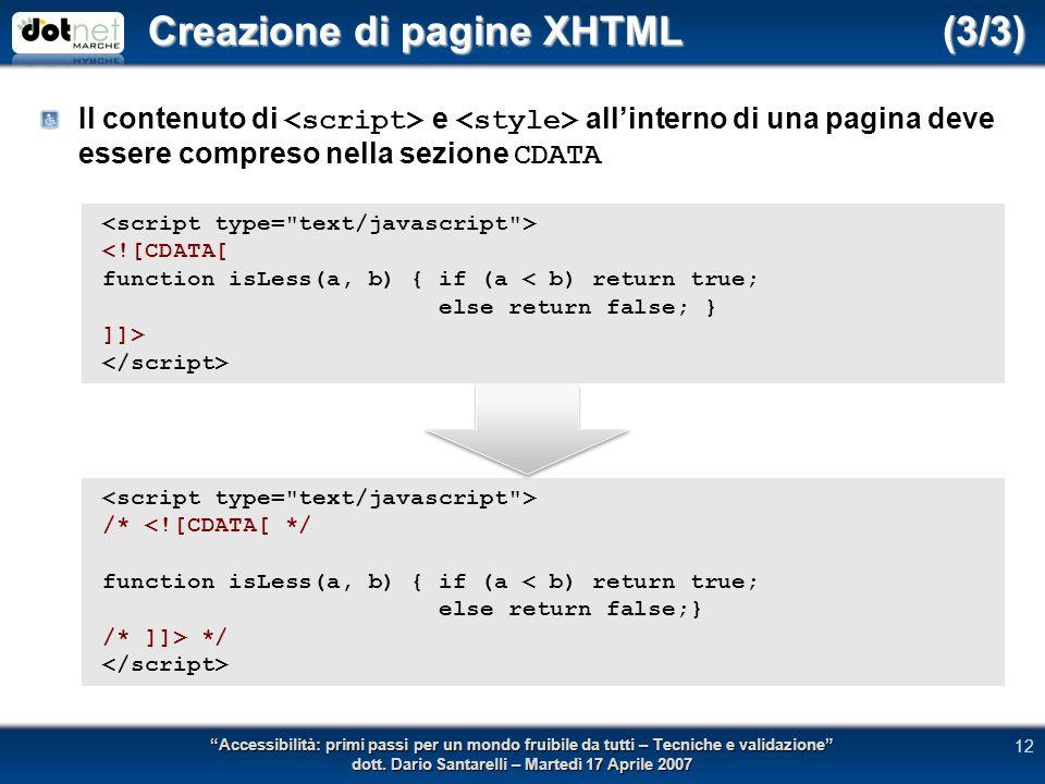 Creazione di pagine XHTML (3/3) Il contenuto di e allinterno di una pagina deve essere compreso nella sezione CDATA Accessibilità: primi passi per un mondo fruibile da tutti – Tecniche e validazione dott.