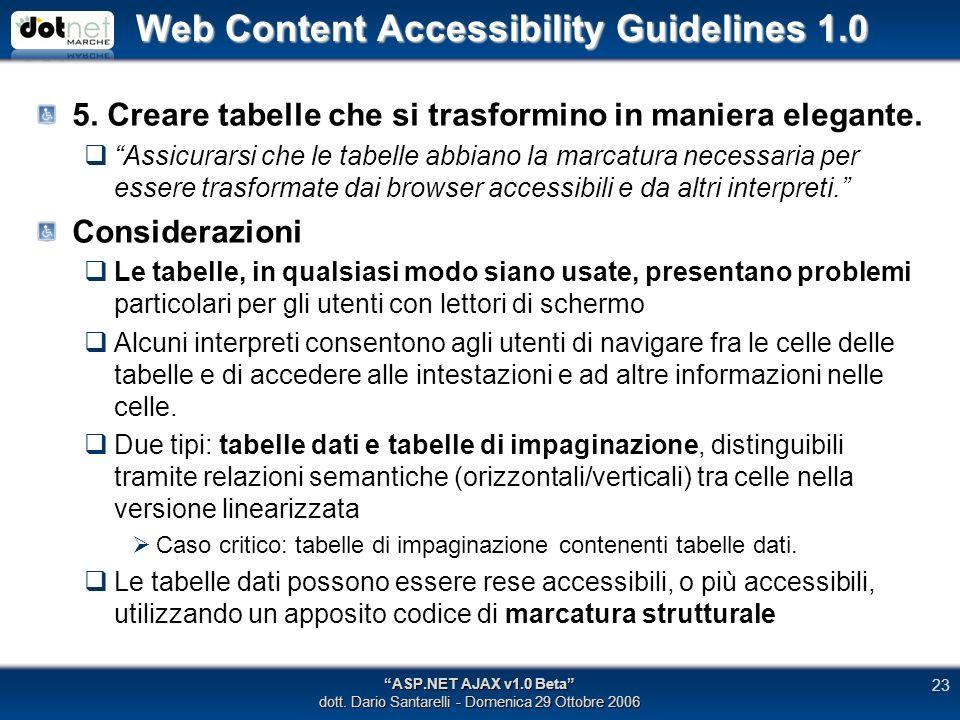 Web Content Accessibility Guidelines 1.0 5. Creare tabelle che si trasformino in maniera elegante.