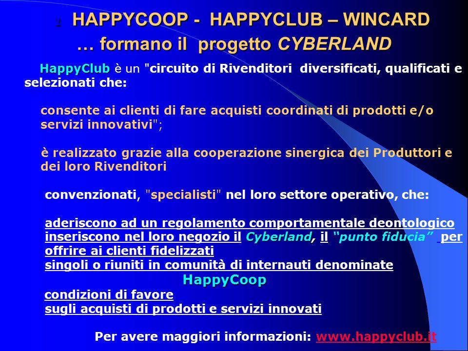 2 HAPPYCOOP - HAPPYCLUB – WINCARD … formano il progetto CYBERLAND 2 HAPPYCOOP - HAPPYCLUB – WINCARD … formano il progetto CYBERLAND HappyClub HappyClub è un circuito di Rivenditori diversificati, qualificati e selezionati che: consente ai clienti di fare acquisti coordinati di prodotti e/o servizi innovativi ; è realizzato grazie alla cooperazione sinergica dei Produttori e dei loro Rivenditori convenzionati, specialisti nel loro settore operativo, che: aderiscono ad un regolamento comportamentale deontologico Cyberland, inseriscono nel loro negozio il Cyberland, il punto fiducia per offrire ai clienti fidelizzati singoli o riuniti in comunità di internauti denominate HappyCoop condizioni di favore sugli acquisti di prodotti e servizi innovati Per avere maggiori informazioni: www.happyclub.itwww.happyclub.it