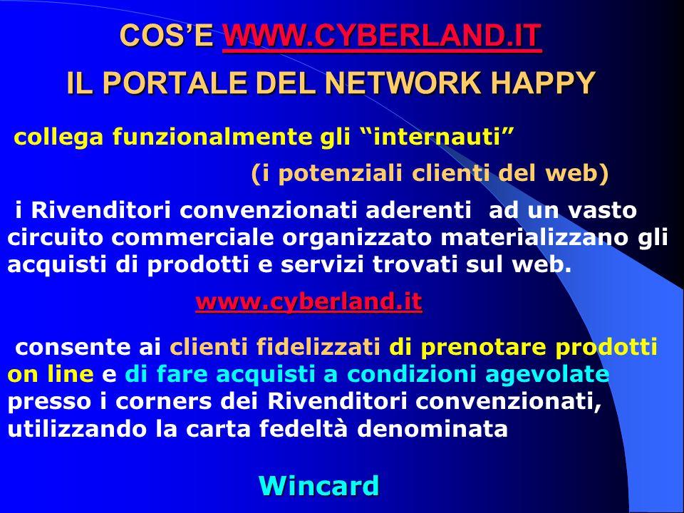 COSE WWW.CYBERLAND.IT IL PORTALE DEL NETWORK HAPPY WWW.CYBERLAND.IT collega funzionalmente gli internauti (i potenziali clienti del web) i Rivenditori convenzionati aderenti ad un vasto circuito commerciale organizzato materializzano gli acquisti di prodotti e servizi trovati sul web.