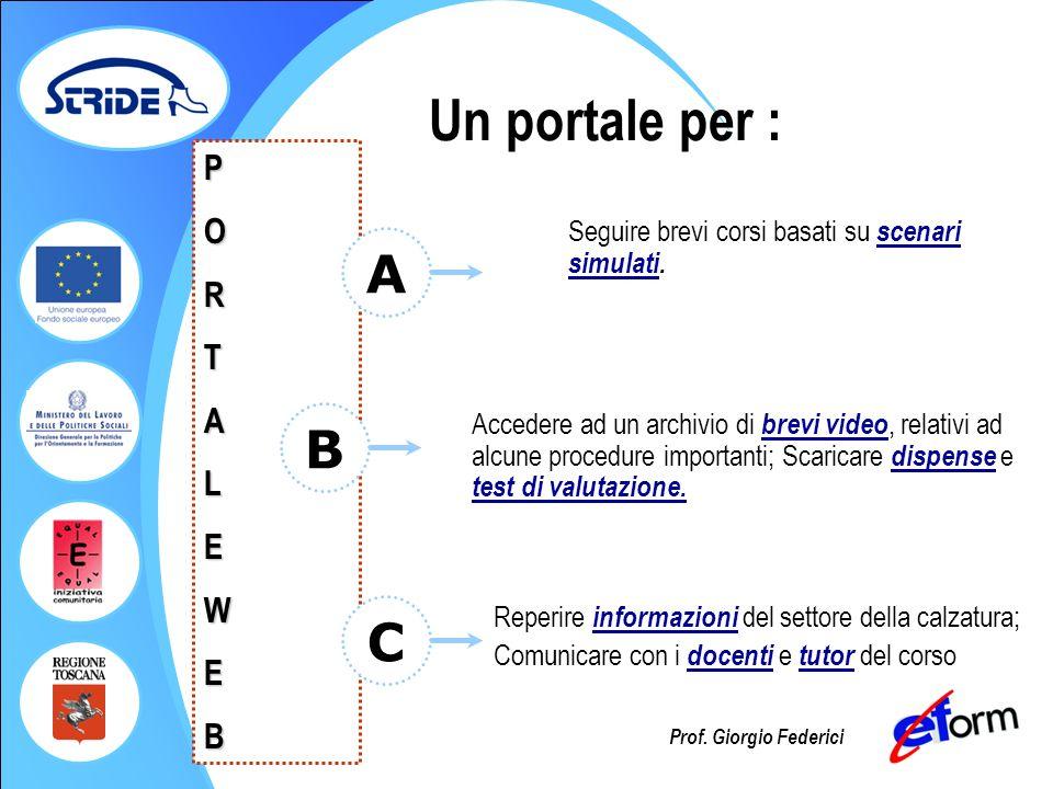 Prof. Giorgio Federici PORTALEWEB Seguire brevi corsi basati su scenari simulati. A B Accedere ad un archivio di brevi video, relativi ad alcune proce