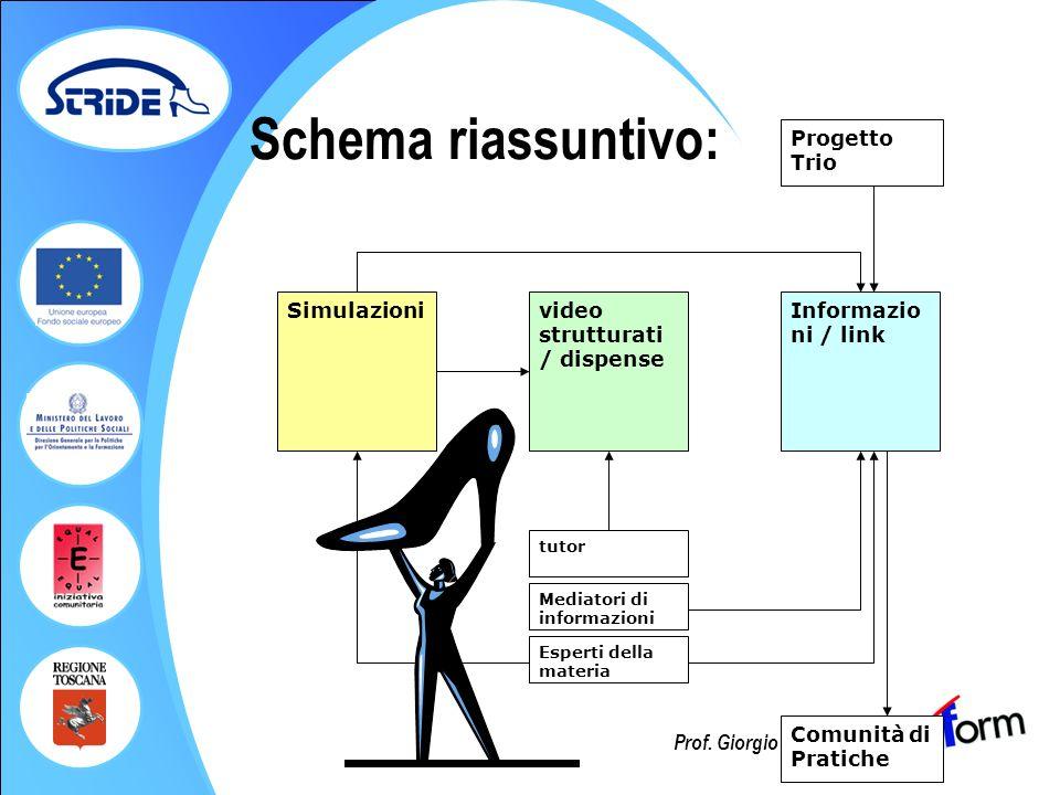 Prof. Giorgio Federici Schema riassuntivo: Simulazionivideo strutturati / dispense tutor Informazio ni / link Mediatori di informazioni Progetto Trio