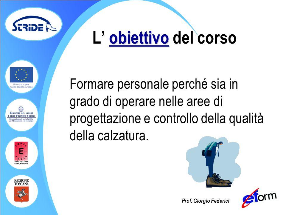Prof. Giorgio Federici obiettivo L obiettivo del corso Formare personale perché sia in grado di operare nelle aree di progettazione e controllo della