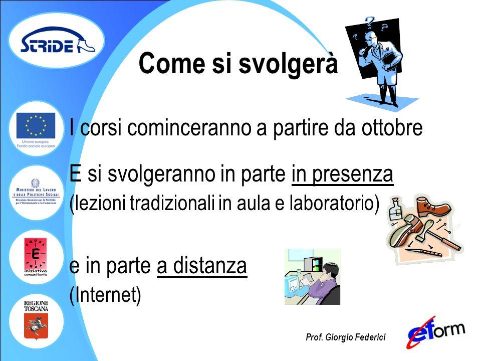 Prof. Giorgio Federici Come si svolgerà I corsi cominceranno a partire da ottobre E si svolgeranno in parte in presenza (lezioni tradizionali in aula